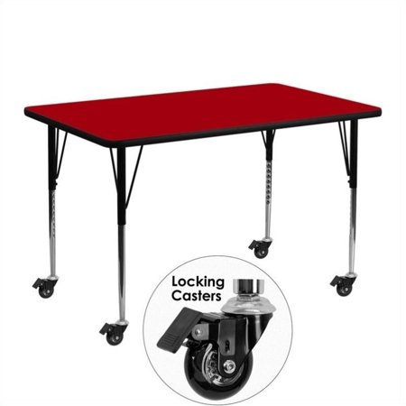 """Bowery Hill 31"""" x 36"""" x 72"""" Mobile Activity Table in Red - image 1 de 1"""