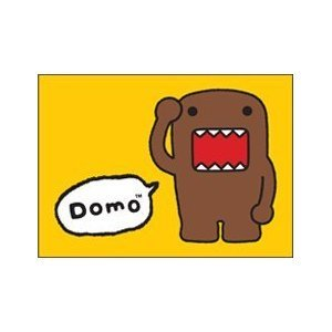 "Domo-Kun, Domo, 3.5"" X 2.5"", Officially Licensed - MAGNET - Solid Yellow Background Animated TV Children's Magnet"