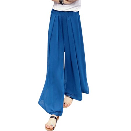 Unique Bargains Womens Mid Rise Elastic Waist Fully Lined Wide Leg Casual Pants Royal Blue Xs