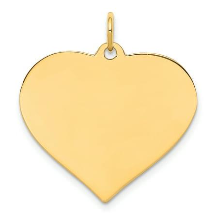 14K Yellow Gold Plain .035 Gauge Engravable Heart Disc Charm - image 2 of 2
