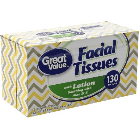 Great Value 3-ply Facial Tissues with Aloe & Vitamin E Lotion, 130 Sheets