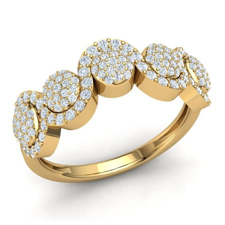 1ctw Round Cut Diamond G Women S Fancy Cer Wave Wedding Ring Bridal Anniversary Band Solid 14k