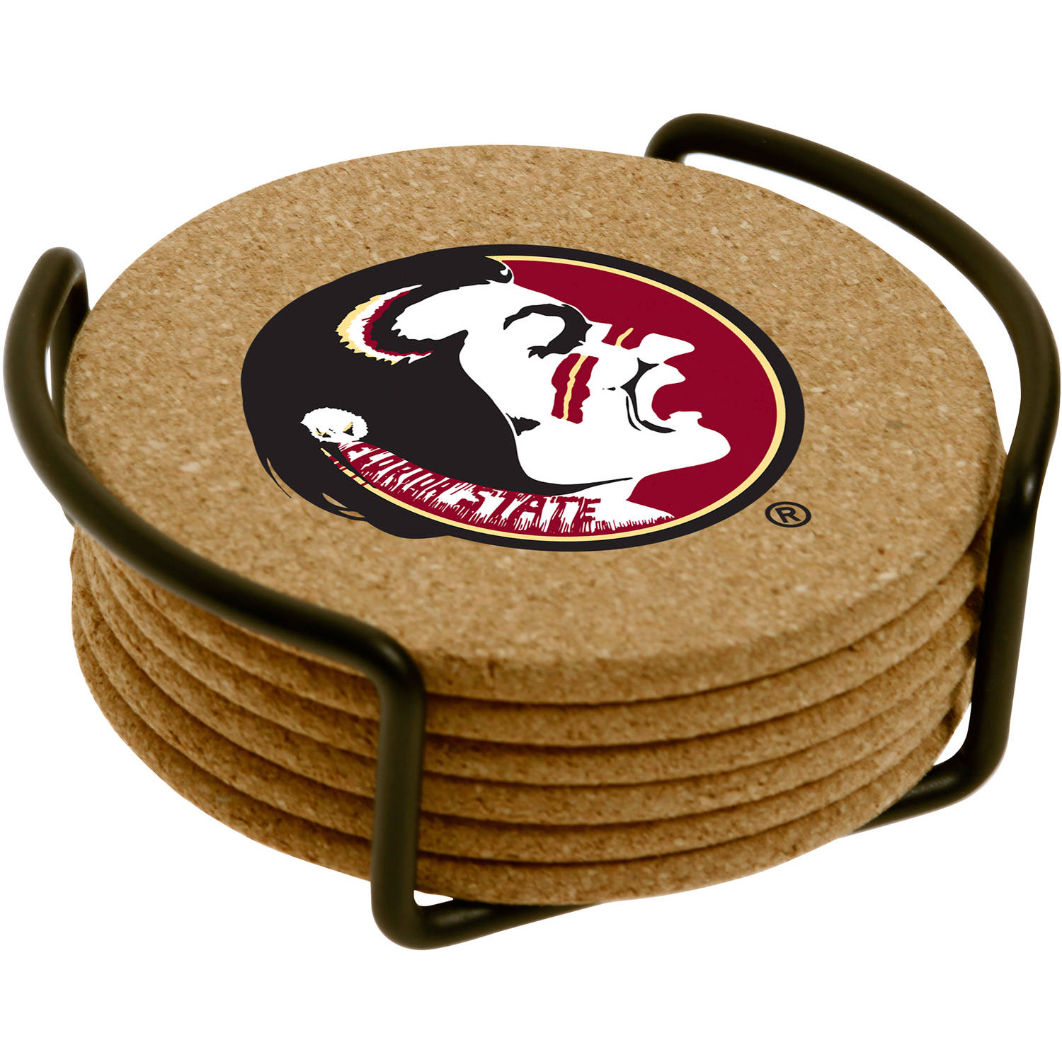 Czoc Housewares Set of Six Cork Coasters with Holder Included, Florida State University