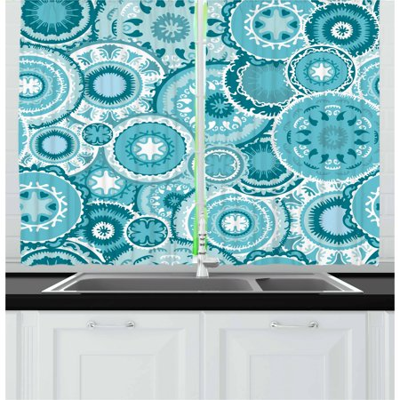 Aqua Curtains 2 Panels Set, Tribal Hippie Ethnic Floral Leaves Mandala Rounds Traditional Elements Print, Window Drapes for Living Room Bedroom, 55W X 39L Inches, Turquoise Teal White, by Ambesonne