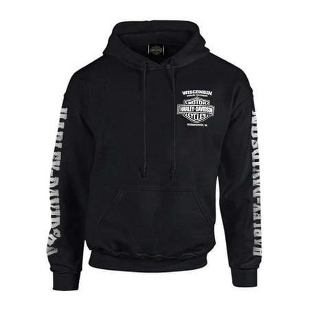 Harley-Davidson Men's Lightning Crest Pullover Hooded Sweatshirt, Black, Harley Davidson 10 Oz Pullover Hooded Sweatshirt