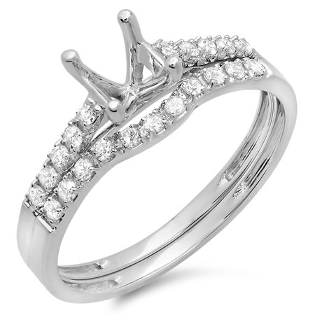 Dazzlingrock Collection 0.25 Carat (ctw) 14k Round Diamond Ladies Semi Mount Bridal Engagement Ring Set 1/4 CT (No Center Stone), White Gold, Size 7.5 Channel Set Semi Mount Ring