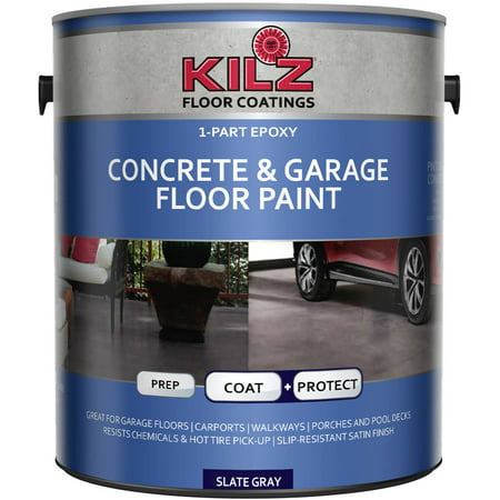 KILZ 1-Part Epoxy Acrylic Interior/Exterior Concrete and Garage Floor Paint, Satin, 1 (Best Way To Clean Concrete Garage Floor)