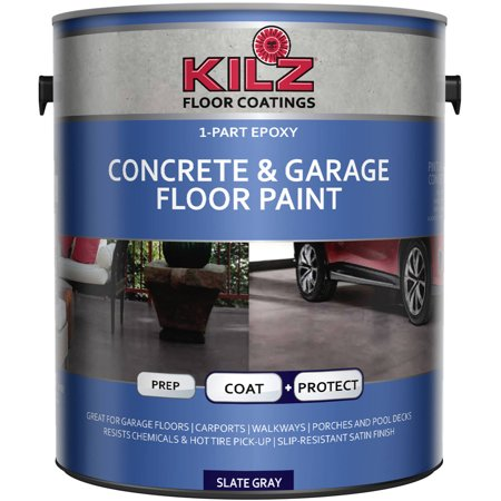 - KILZ 1-Part Epoxy Acrylic Interior/Exterior Concrete and Garage Floor Paint, Satin, 1 gal