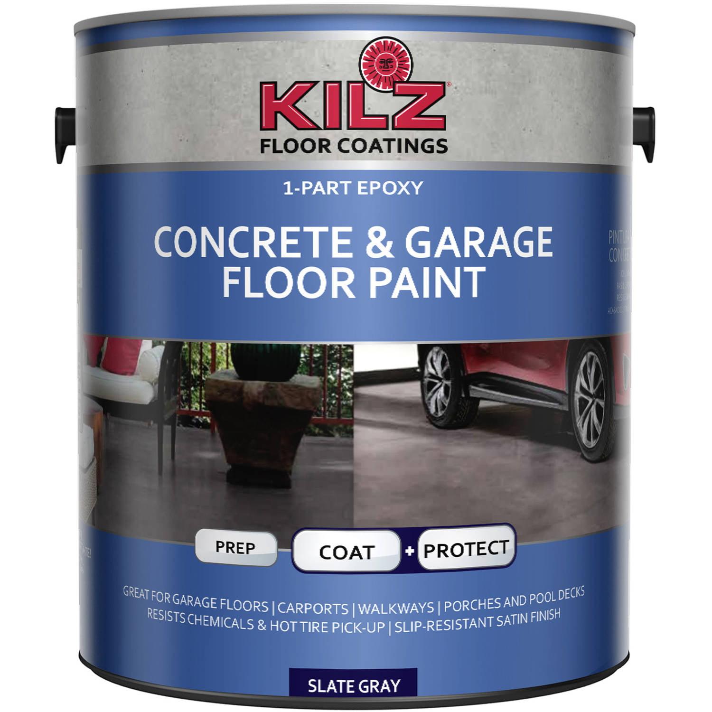 KILZ 1-Part Epoxy Acrylic Interior/Exterior Concrete and Garage Floor Paint, Satin, 1 gal