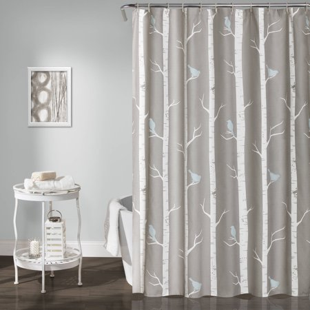 Bird On The Tree Shower Curtain Gray Blue 72x72