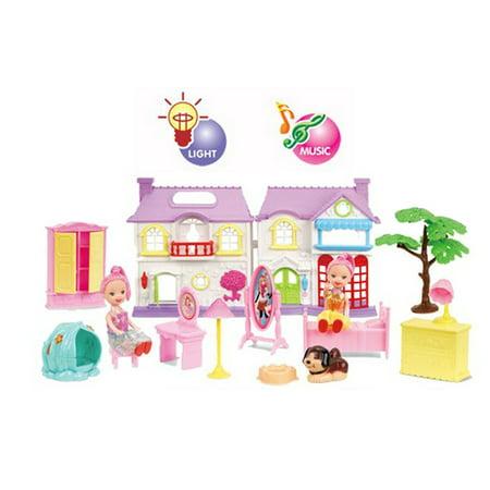 Dollhouse Villa w/light, bell sound, dog sound pretend play doll furniture toy girl play toy