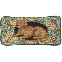 Eyeglass Case Golden Retriever Dog 3.5x7 Floral Wool Yarns New Hand-Embroi JK-65