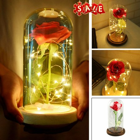 Beauty and The Beast Rose, Enchanted Red Silk Rose Lamp with Fairy String Lights in Glass Dome, Best Gifts for Her for Valentines Day, Mothers Day, Anniversary, Wedding, Birthday Gifts, Flower (The Best Fog Lights)