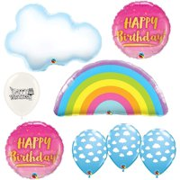 Rainbow Clouds Pink and Gold Birthday Party Balloons Bouquet