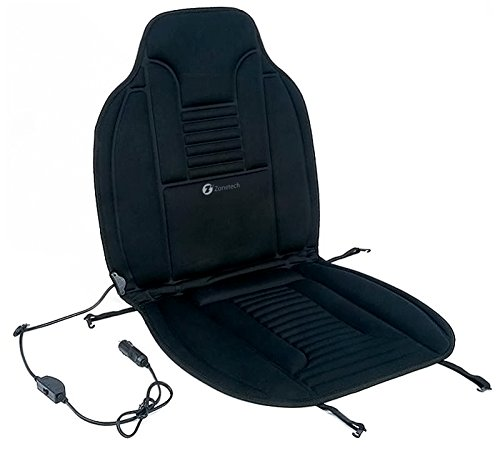 Zone Tech Heated Car Seat Cushion Black 12V Heating Warmer Pad Hot Cover Perfect for Cold Weather and Winter Driving by Zone Tech