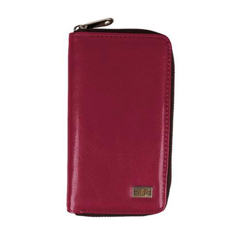 BMC Womens Long Leather Zipper Cellphone Holder Wallet Organizer - CRIMSON