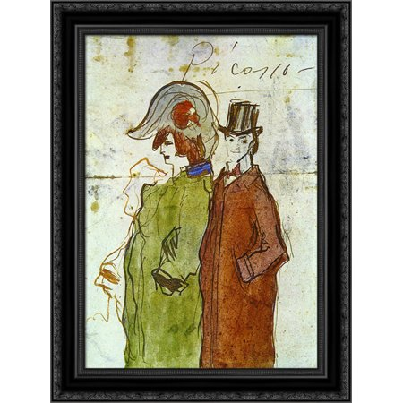 Picasso With Partner 20X24 Black Ornate Wood Framed Canvas Art By Picasso  Pablo