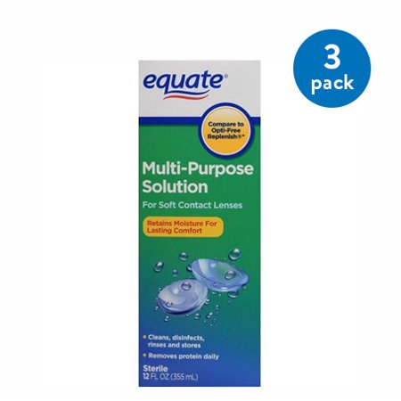(3 Pack) Equate Sterile Multi-Purpose Contact Solution, 12 Oz 3 Packs of Equate Sterile Multi-Purpose Contact Solutions. Go about your busy day with healthy, clear eyes when you use Equate Multi-Purpose Contact Solution. Its formulated to safely and effectively clean, disinfect, rinse and store soft lenses. This daily-use solution also removes protein deposits and debris to improve wearing comfort. This revolutionary sterile contact solution eliminates the need for a separate enzymatic cleaner or daily cleaner. Its proven safe and effective for soft contact lenses. The solution comes in a 12 oz bottle.Making the right health decisions can be challenging. With a complete range of products and simple solutions, Equate allows you to take care of your family with confidence.