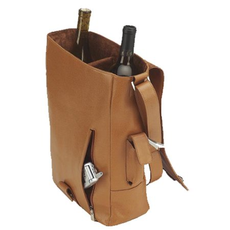 Picnic Gift 4025-BR Vino 2 Leather Wine Tote Two Bottle Carrier -...