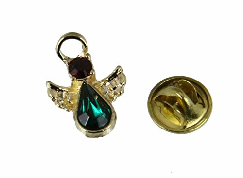 Christmas Angel Lapel Pin Red & Green Crystal Stones Tie Tack Brooch by