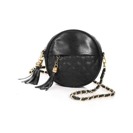 Ladies Crossbody Bag with Zipper Closure Tassels Decor Chain Strap