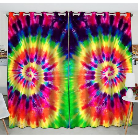 GCKG Colorful Tie Dye Window Curtain,Colorful Tie Dye Grommet Blackout Curtain Room Darkening Curtains For Bedroom And Kitchen Size 52(W) x 84(H) inches (Two Piece) (Tie Dye Room)