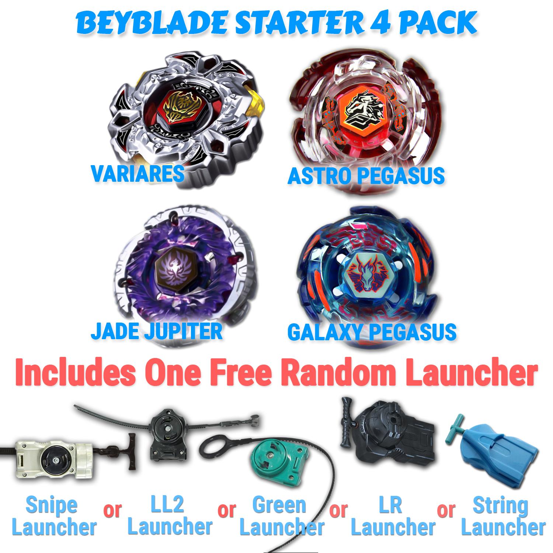 Beyblade Astro Pegasus, Galaxy Pegasus, Jade Jupiter, Variares 4 Pack from Metal Fusion, Metal Fury, Metal Master Series + 1 Free Launchers Shipped from USA