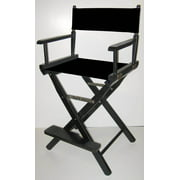 Folding Director's Style Chair w 24-Inch Seat Height & Black Finish Frame (Navy Blue)