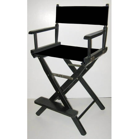 Fantastic Folding Directors Style Chair W 24 Inch Seat Height Black Finish Frame Navy Blue Beatyapartments Chair Design Images Beatyapartmentscom