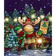 """Trees For Sale Winter Christmas Moose House Flag by Briarwood Lane 28"""" x 40"""""""