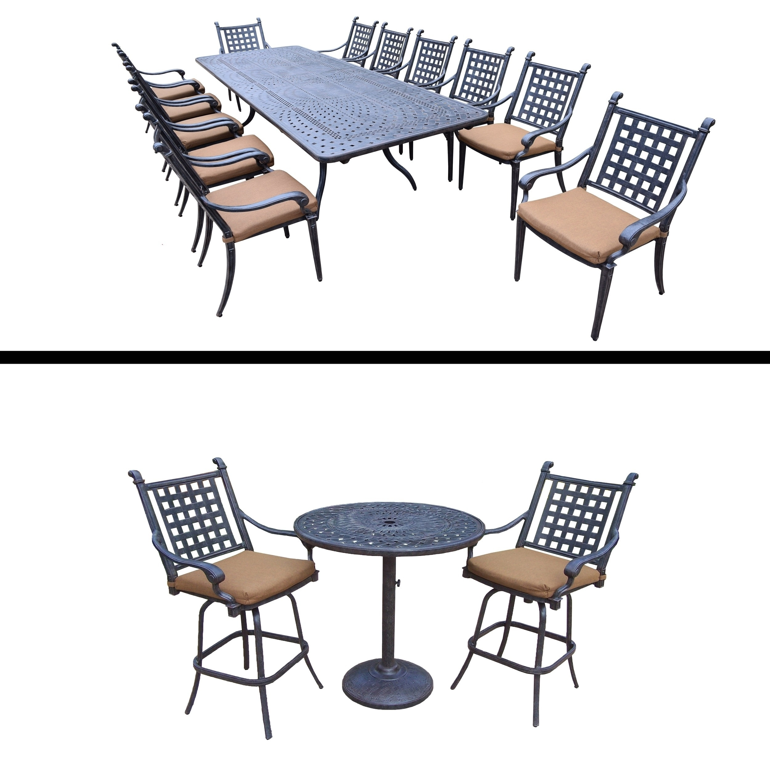 Oakland Living 13 Pc Dining Room Set with Extendable Table and 3 Pc Bar Set and Cushions by Overstock
