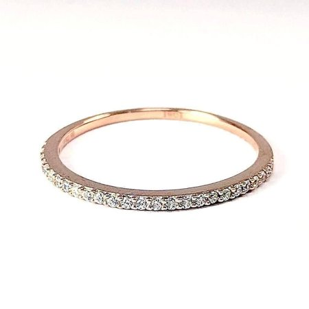 Platinum Cable Ring - ON SALE - Lillianne .22CT Pavé Band IOBI Simulated Diamond Ring 10.25 / 18K Rose Gold