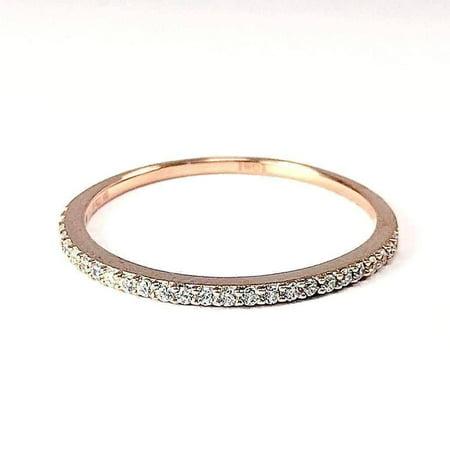 ON SALE - Lillianne .22CT Pavé Band IOBI Simulated Diamond Ring 10.25 / 18K Rose