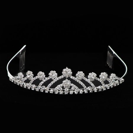 Girls Silver Rhinestone Encrusted Flower Girl Communion Elegant Comb Crown - Cinderella Crown
