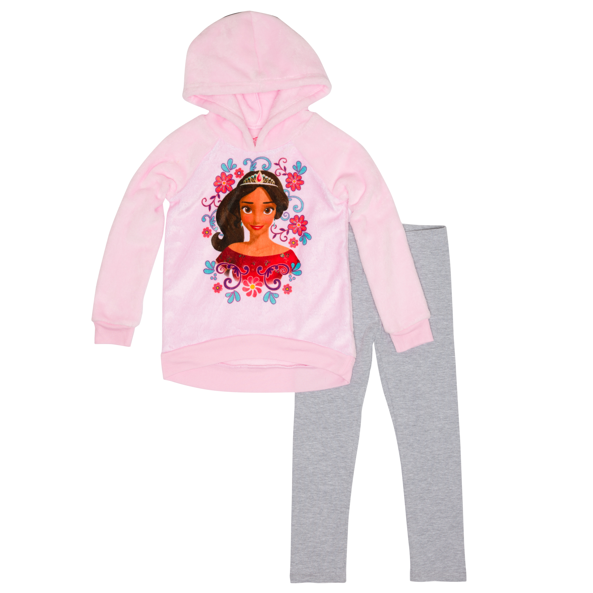 Elena of Avalor Little Girls' Hooded Plush Pullover and Legging 2 piece Set