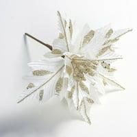 Fancyleo 1pcs Christmas Poinsettia Glitter Artificial Flower Decorative Plugin