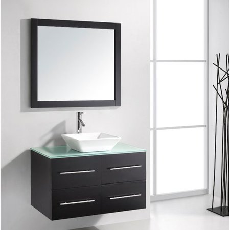Virtu Usa Ultra Modern 35 Single Bathroom Vanity Set With Tempered Glass Top And Mirror