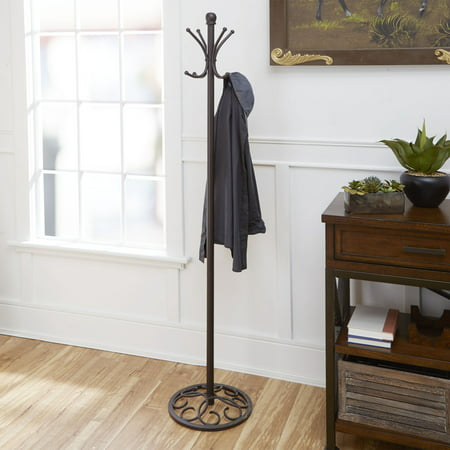 Metal Coat and Hat Rack, Oil-Rubbed Bronze Finish