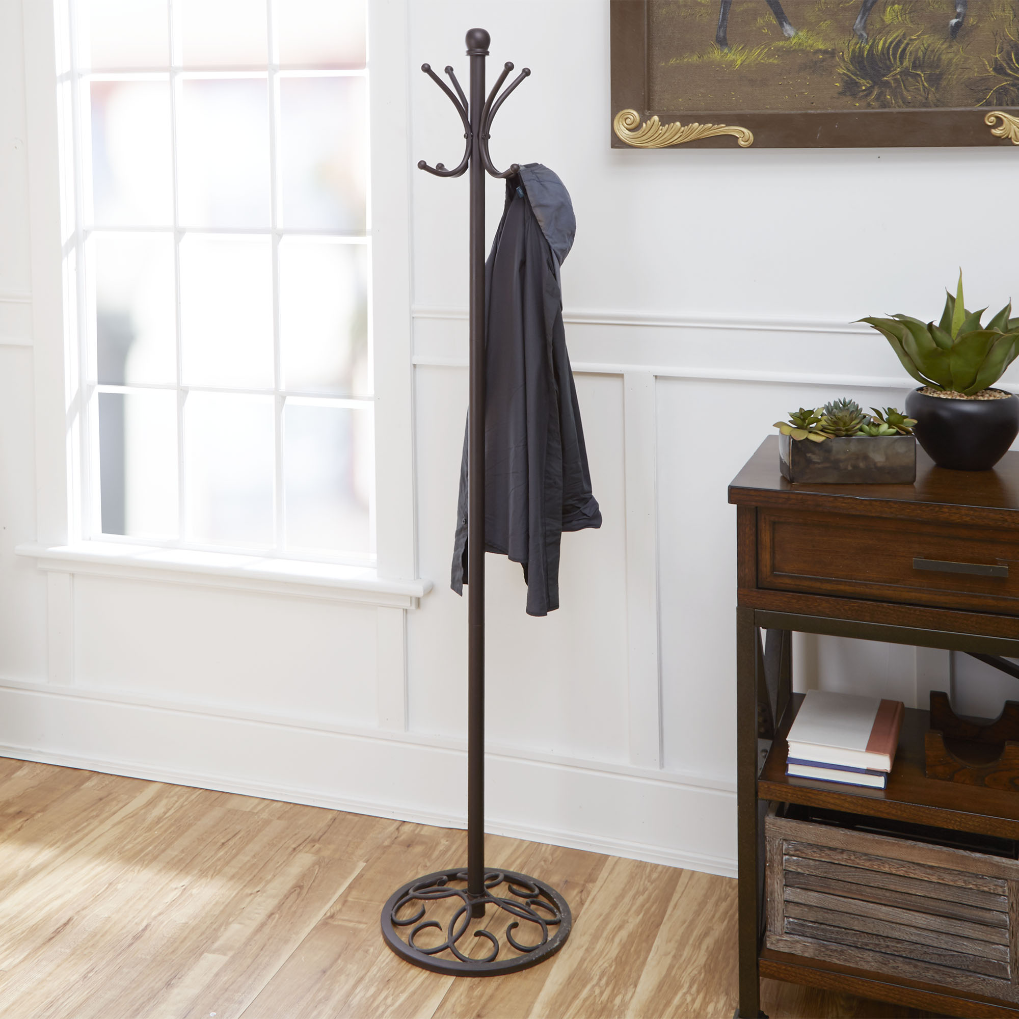 Metal Coat and Hat Storage Rack, Oil-Rubbed Bronze Finish