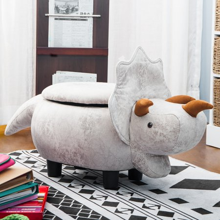 JUMPER Storage Ottoman Have- Fun Series Upholstered Ride-on Storage Ottoman Footrest Stool Toy Box Coffee Table Stools w/ Vivid Adorable Animal Shape (Gray Dinosaurs) ()