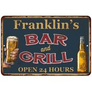 UPC 786359024125 product image for Franklin's Green Bar and Grill Personalized Metal Sign 8x12 Decor 108120044928 | upcitemdb.com