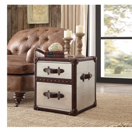 End Table, Vintage Dark Brown Top Grain Leather & Aluminum