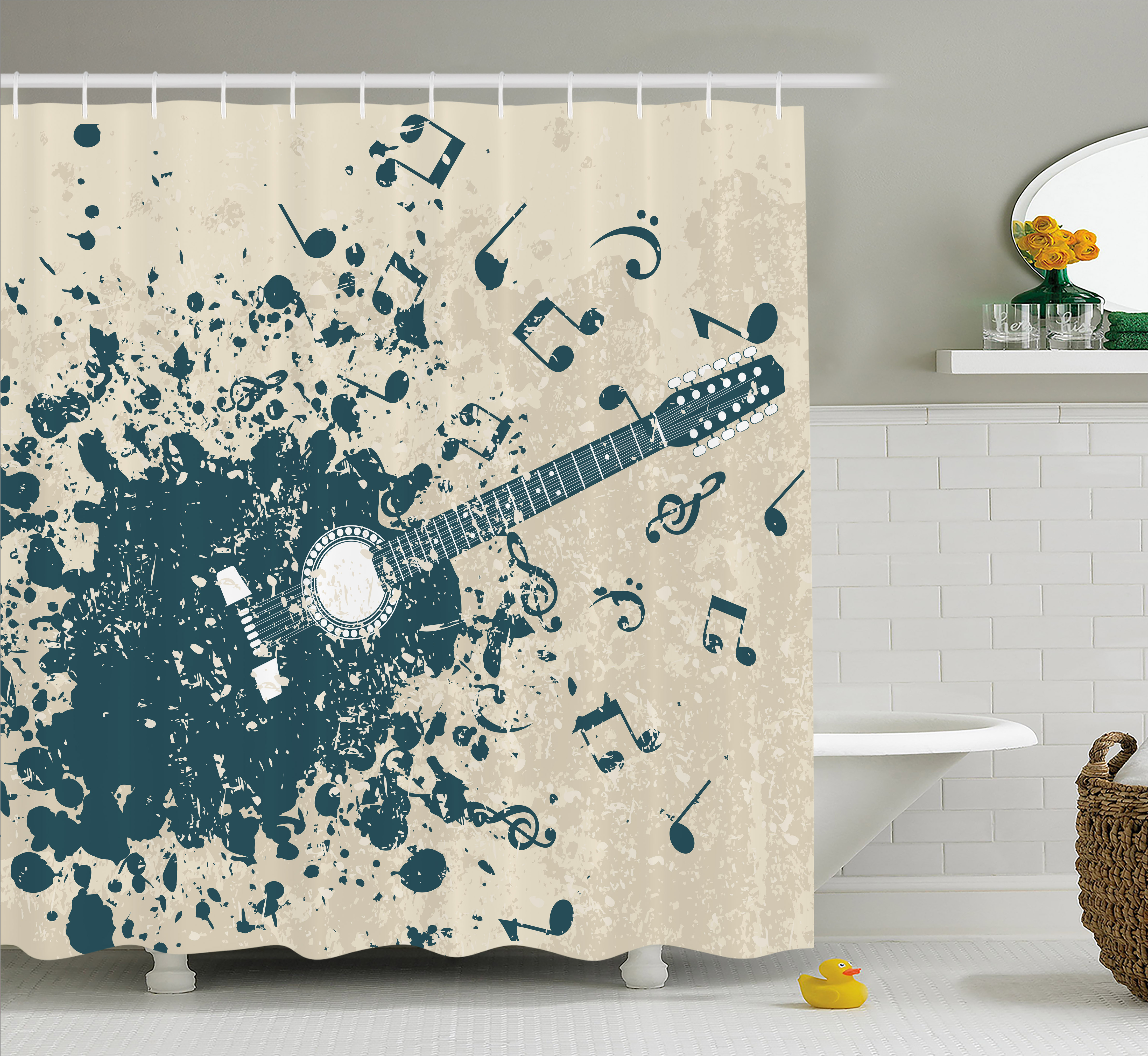 Modern Shower Curtain, Acoustic Guitar on Retro Murky Background with Music Notes Melody Illustration, Fabric Bathroom Set with Hooks, 69W X 84L Inches Extra Long, Beige Dark Blue, by Ambesonne