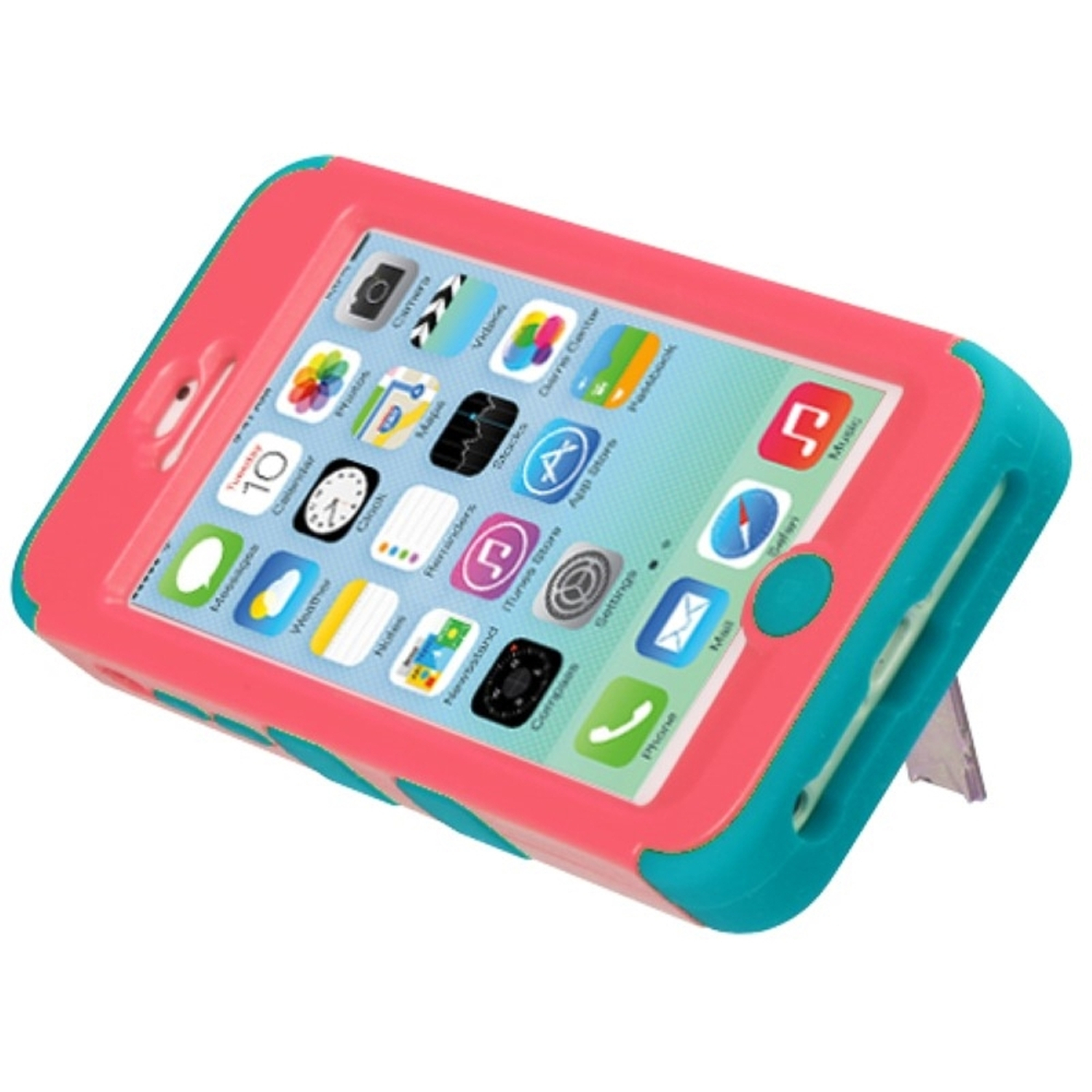 Insten Tuff Hard Hybrid Rubber Coated Silicone Case w/stand For Apple iPhone 5C - Baby Red/Teal
