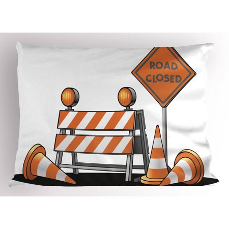 Urban Pillow Sham Road Closed Sign with Traffic Warning Symbol with Blocker Stop Illustration, Decorative Standard Size Printed Pillowcase, 26 X 20 Inches, Pale Orange Grey, by Ambesonne ()