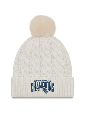 New England Patriots New Era Women's Super Bowl LIII Champions Cable Knit Hat - Cream - OSFA