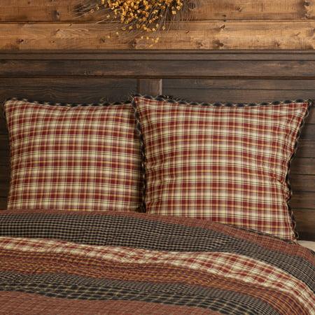 Rust Red Rustic & Lodge Bedding Bannack Cotton Plaid Euro Sham - Euro Plaid Pad