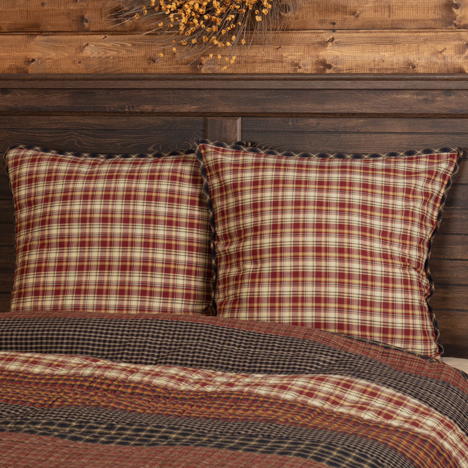 Rust Red Rustic & Lodge Bedding Beckham Cotton Plaid Euro Sham