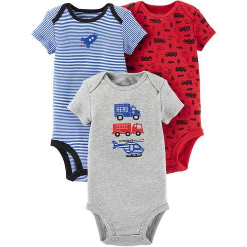 Short Sleeve Bodysuits, 3pk (Baby Boys)