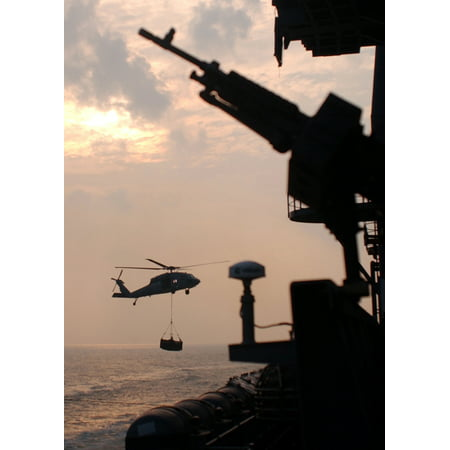 Military Sealift Command Ships - LAMINATED POSTER An MH-60S Knighthawk attached to the Military Sealift Command (MSC) fast combat support ship USNS A Poster Print 24 x 36